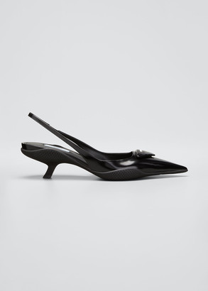 Prada Triangle Logo Kitten-Heel Slingback Pumps