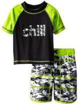 iXtreme Little Boys Chill Camo Short Sleeve 2-Piece Rashguard Swim Trunk Set, Grey