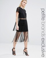 TFNC Petite Lace Crochet Fringe Skirt Co-ord