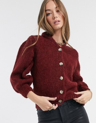 Vero Moda knitted cardigan with contrast buttons in dark red