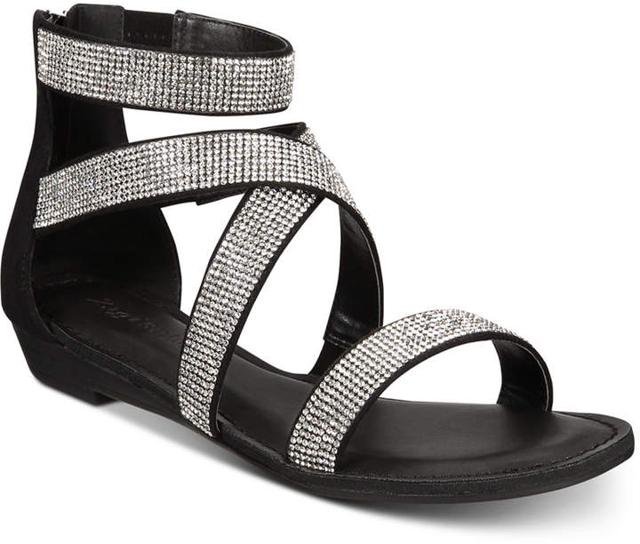 Rhinestone Strappy Flat Marvela Sandals Shoes Women NnOv80mw