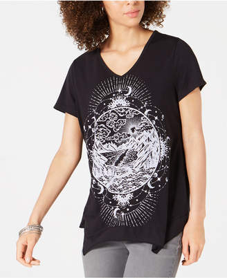 Style&Co. Style & Co Graphic-Print Handkerchief-Hem T-Shirt