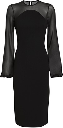 Victoria Beckham Chiffon Sleeve Shift Dress