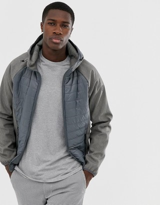 Esprit quilted body jacket in gray