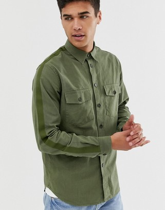 Paul Smith relaxed fit taped shirt in khaki-Green