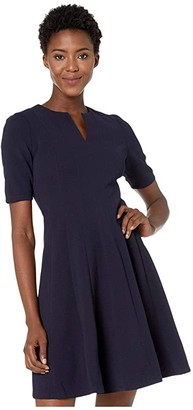 Maggy London Metro Knit Fit and Flare Dress (Navy) Women's Dress