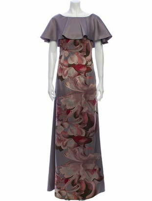Alberta Ferretti Floral Print Long Dress Grey