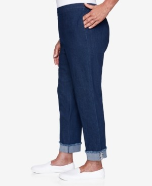 Alfred Dunner Petite Denim Friendly Ankle-Cuff Pants With Boucle Trim