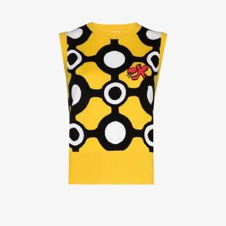 Charles Jeffrey Loverboy Yellow Intarsia Knitted Merino Vest