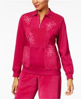 Alfred Dunner Royal Jewels Embroidered Quilted Sweatshirt