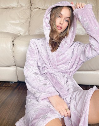 ASOS DESIGN holographic star cuddle fleece mini robe in lilac