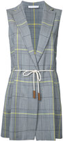 Fabiana Filippi drawstring plaid sleeveless blazer - women - Cotton/Merino/Mohair - 42