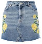 Topshop Women's Floral Stud Denim Miniskirt