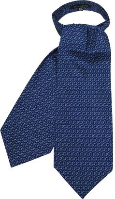 Forzieri Bright Blue Paisley Printed Twill Silk Ascot Tie