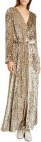 Co Belted Long Sleeve Metallic Velvet Gown