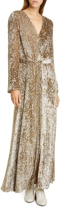 Co Belted Long Sleeve Metallic Velvet Gown