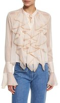See by Chloe Long-Sleeve Sheer Chiffon Ruffle Blouse, Powder