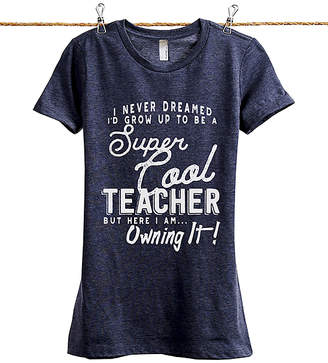Thread Tank Women's Tee Shirts Heather - Heather Navy 'Super Cool Teacher' Tee - Women