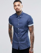 Asos Skinny Denim Shirt With Polka Dot In Rinse Wash