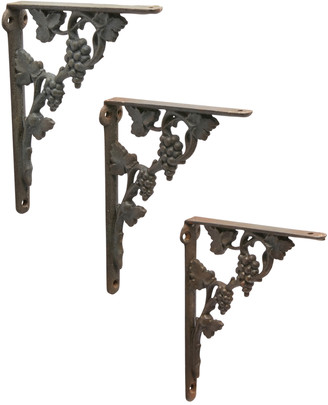 Rejuvenation Trio of Cast Iron Grape Vine Shelf Brackets
