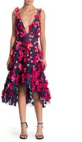 Marchesa Floral Hi-Lo Flutter Dress