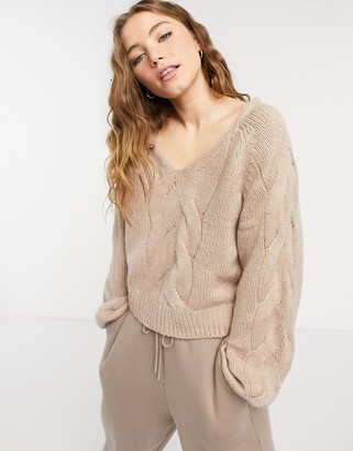 Abercrombie & Fitch cable knit boat neck sweater in pink