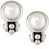 """Honora Pallini"""" White Freshwater Cultured Pearl Semi Hoop Omega Back Earrings"""
