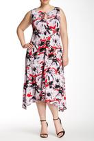 Taylor Sharkbite Printed Midi Dress (Plus Size)