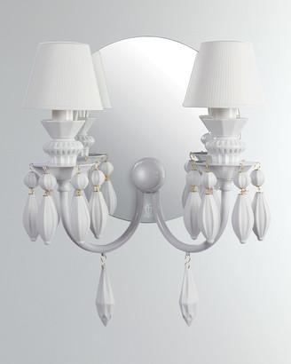 Lladro Belle de Nuit 2-Light Wall Sconce, White