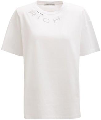 Alessandra Rich Over Logo Cotton Jersey T-shirt