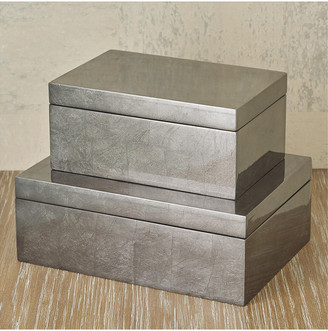Global Views Gunmetal Silver Leaf Box