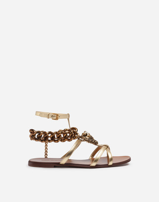 Dolce & Gabbana Devotion Sandals In Mordore Nappa Leather