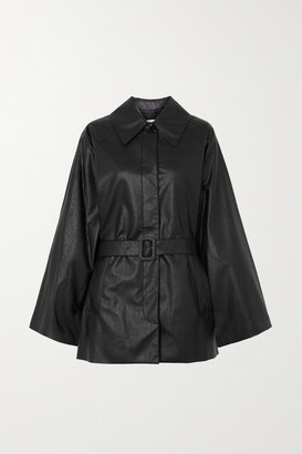 MM6 MAISON MARGIELA Oversized Belted Faux Leather Jacket - Black
