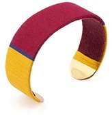 "Satellite Women's ""Tananarive"" Gold Plated Brass Multicolour Threads Medium Bar Cuff"