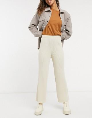 Monki Calah ribbed pants in off white