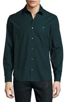 Burberry Check-Detail Stretch-Poplin Shirt, Dark Teal Green