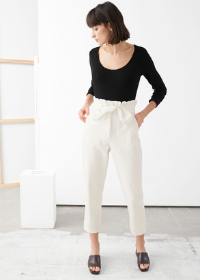 And other stories High Rise Paperbag Waist Denim Trousers