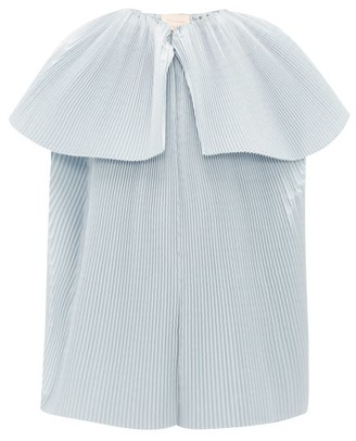 Roksanda Leo Plisse Twill Blouse - Womens - Light Blue