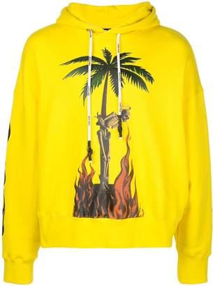 Palm Angels burning skeleton print hoodie