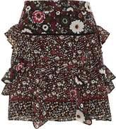 River Island Womens Black floral print frill mini skirt
