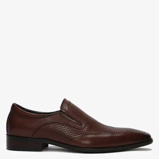 Daniel Xanthins Tan Leather Laser Cut Loafers