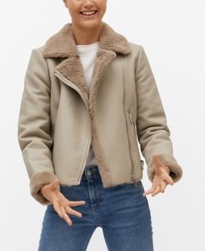 MANGO Women's Faux Fur Biker Jacket