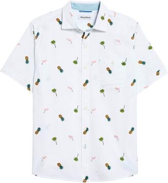 Tommy Bahama Flaming Tango Tropical Print Short Sleeve Button-Up Shirt