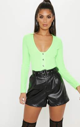 PrettyLittleThing Lime Neon Popper Scoop Neck Long Sleeve Bodysuit