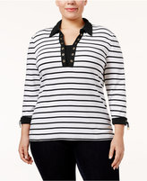 Karen Scott Plus Size Striped Layered-Look Top, Only at Macy's