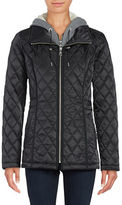 Vince Camuto Mock-Layered Hooded Quilted Jacket