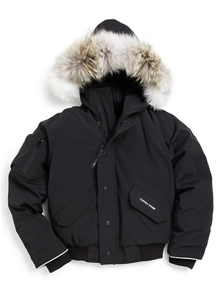 Canada Goose Kid's Rundle Coyote Fur-Trim Down Bomber Jacket