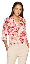 Notations Women's Petite Printed Point Collar 3/4 Roll Tab Button Down Blouse