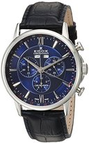 Edox Men's 'Les Bemonts' Swiss Quartz Stainless Steel and Leather Dress Watch, Color:Black (Model: 10501 3 BUIN)