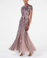 Thumbnail for your product : R & M Richards Sequin-Embellished Pleated Gown